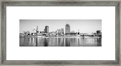 Cincinnati Panorama Black And White Picture Framed Print by Paul Velgos