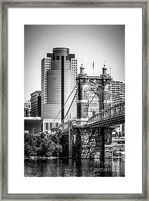 Cincinnati Roebling Bridge Black And White Picture Framed Print by Paul Velgos