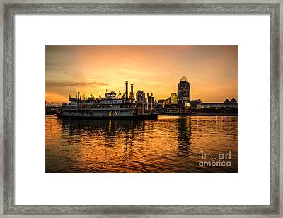 Cincinnati Skyline And Riverboat At Sunset Framed Print by Paul Velgos
