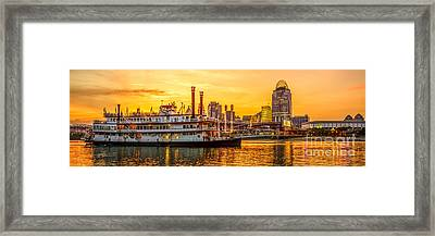Cincinnati Skyline And Riverboat Panorama Photo Framed Print by Paul Velgos