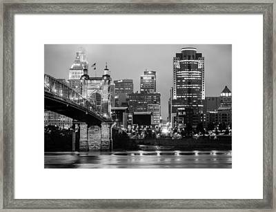 Cincinnati Skyline And The John A. Roebling Suspension Bridge In Black And White Framed Print by Gregory Ballos