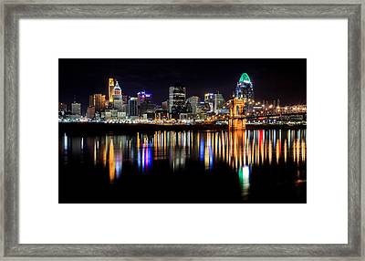 Cincinnati Skyline In Christmas Colors Framed Print by Keith Allen