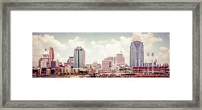 Cincinnati Skyline Panorama Vintage Photo Framed Print by Paul Velgos