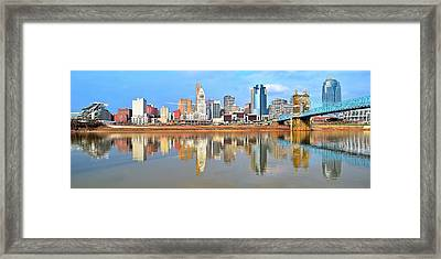 Cincinnati Skyline Panoramic Framed Print by Frozen in Time Fine Art Photography