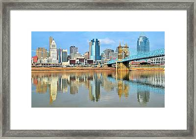 Cincinnati Skyline Reflects Framed Print by Frozen in Time Fine Art Photography