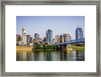 Cincinnati Skyline With Roebling Bridge Framed Print by Paul Velgos