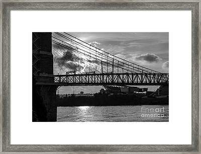 Cincinnati Suspension Bridge Black And White Framed Print by Mary Carol Story