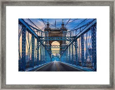 Cincinnati Suspension Bridge Framed Print by Inge Johnsson