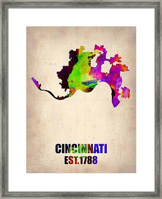 Cincinnati Watercolor Map Framed Print by Naxart Studio