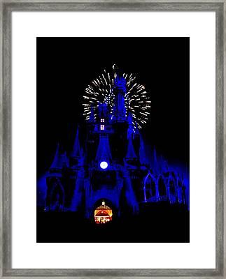 Cinderella Castle Fireworks Framed Print by Benjamin Yeager