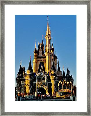 Cinderella Castle Sunset Framed Print by Benjamin Yeager