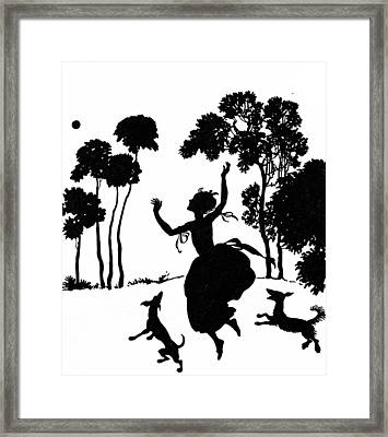 Cinderella Playing With Her Dogs Framed Print by Arthur Rackham