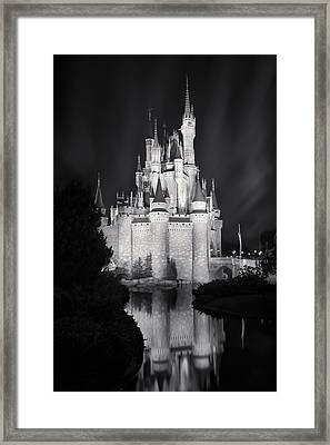 Cinderella's Castle Reflection Black And White Framed Print by Adam Romanowicz
