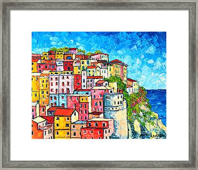Cinque Terre Italy Manarola Colorful Houses  Framed Print by Ana Maria Edulescu
