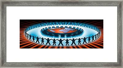 Circle Of People Around A Table Framed Print by Panoramic Images