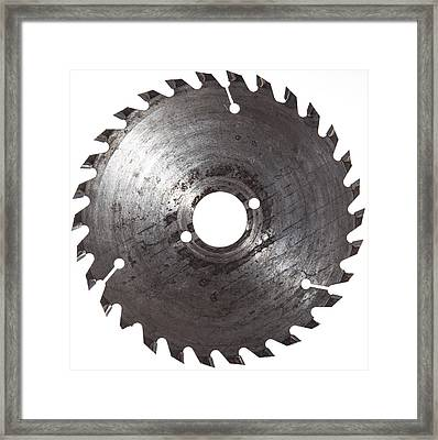 Circular Saw Blade Isolated On White Framed Print by Handmade Pictures
