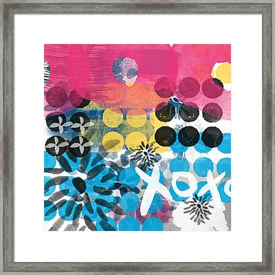 Circus - Contemporary Abstract Art Framed Print by Linda Woods