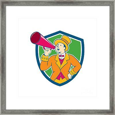 Circus Ringmaster Bullhorn Crest Cartoon Framed Print by Aloysius Patrimonio