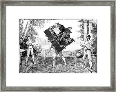 Circus Strongmen Framed Print by Science Photo Library