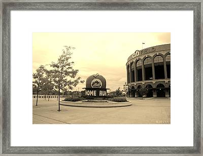 Citi Field In Sepia Framed Print by Rob Hans