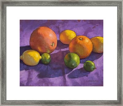 Citrus On Purple Framed Print by Sarah Blumenschein