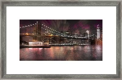 City-art Brooklyn Bridge Framed Print by Melanie Viola