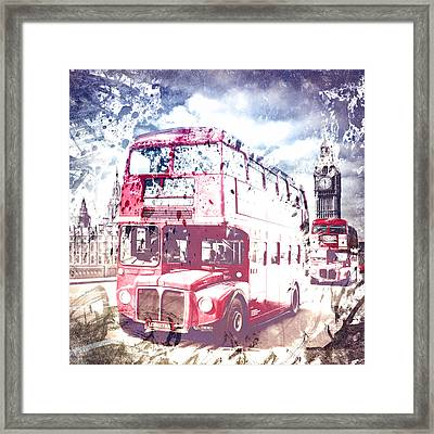 City-art London Red Buses On Westminster Bridge Framed Print by Melanie Viola