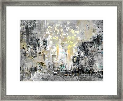 City-art Manhattan Sunflower Framed Print by Melanie Viola