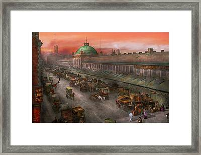 City - Boston Mass - Morning At The Farmers Market - 1904 Framed Print by Mike Savad
