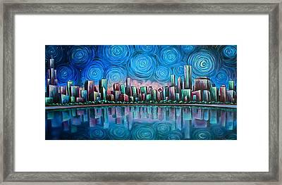 City By Starlight Framed Print by Jim Figora