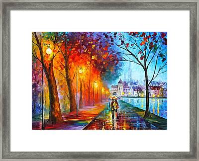 City By The Lake Framed Print by Leonid Afremov