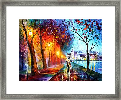 City By The Lake - Palette Knife Oil Painting On Canvas By Leonid Afremov Framed Print by Leonid Afremov