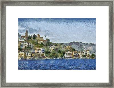 City By The Sea Framed Print by Ayse Deniz