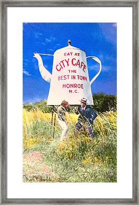 City Cafe - Nostalgic Monroe North Carolina Framed Print by Mark E Tisdale