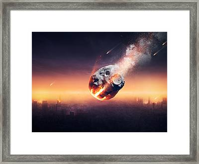 City Destroyed By Meteor Shower Framed Print by Johan Swanepoel