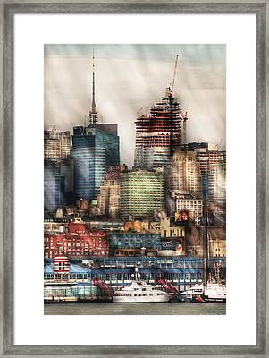 City - Hoboken Nj - New York Skyscrapers Framed Print by Mike Savad