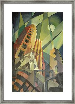 City In Shards Of Light Oil On Canvas Framed Print by Carolyn Hubbard-Ford