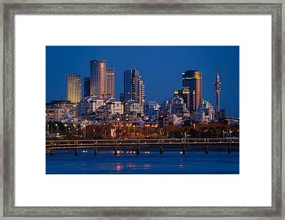 city lights and blue hour at Tel Aviv Framed Print by Ron Shoshani
