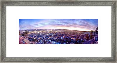City Lights Boulder Colorado Panorama Sunrise Framed Print by James BO  Insogna