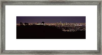 City Lit Up At Night, Griffith Park Framed Print by Panoramic Images