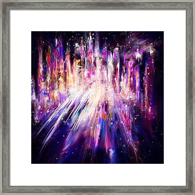 City Nights City Lights Framed Print by Rachel Christine Nowicki