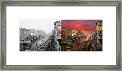 City - Ny - Rush Hour Traffic - 1900 - Side By Side Framed Print by Mike Savad