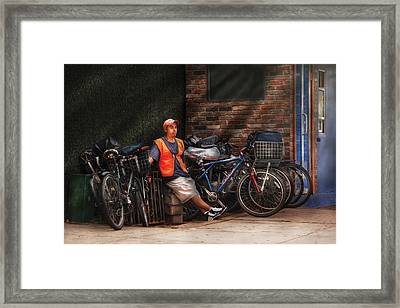 City - Ny - Waiting For The Next Delivery Framed Print by Mike Savad