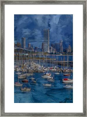 City Of Milwaukee Along Lake Michigan Framed Print by Jack Zulli