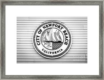 City Of Newport Beach Sign Black And White Picture Framed Print by Paul Velgos