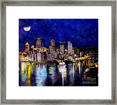 City Of Pittsburgh At The Point Framed Print by Christopher Shellhammer