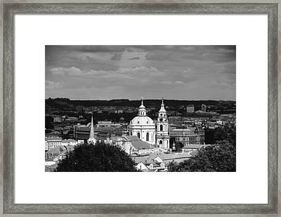 City Of Prague In Black And White Framed Print by Matthias Hauser