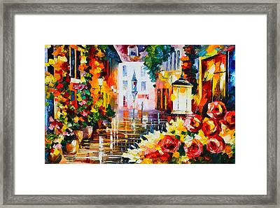 City Of Roses Framed Print by Leonid Afremov