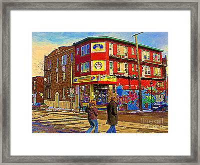 City Paint Benjamin Moore Rue Rachel And Hotel And De Ville Montreals Oldest Paint Store  C Spandau  Framed Print by Carole Spandau