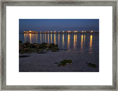 City Pier At Night Framed Print by Darylann Leonard Photography